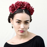 Red Rose Flower Crown -  Holiday Hair Accessory, Rose, Headband, Frida Kahlo, Dia de los Muertos, Headband, , Rose Crown