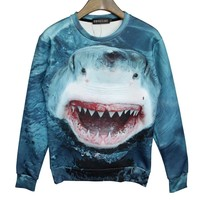 Realistic Shark Jumping Out Of The Water Graphic Print Pullover Sweater
