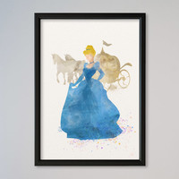 Cinderella Princess FRAMED Watercolor print Disney Cinderella with Carriage Watercolor Illustration poster Kids art Nursery Giclee Print