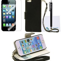 The Friendly Swede Basics - PU Leather Stand Wallet Case Cover for Apple iPhone 5 5s + Matching Stylus + Screen Protector + Cleaning Cloth (Black)