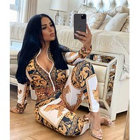 Women Casual Round Collar Top Pants Set Two-Piece
