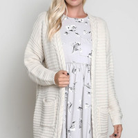 Natural Oversized Cardigan with Braided Trim Detail