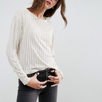 ASOS Sweater In Ladder Stitch And Batwing Sleeves at asos.com