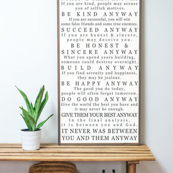 Mother Teresa Quote Sign