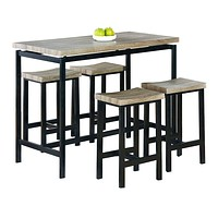 Wood And Metal 5-Piece Dining Set, Brown And Black