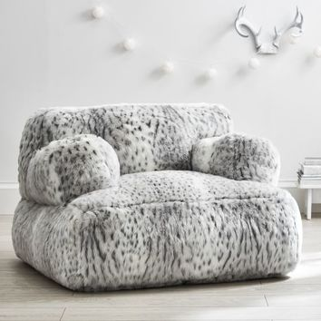 Gray Leopard Faux-Fur Eco Lounger