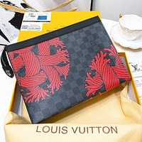 LV Louis Vuitton Hot Sale New Men Women Leather Black Plaid Office Bag Handbag Tote Makeup Bag Purse Wallet