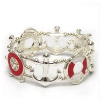 """Anchor Away"" Silver/Red Boat Accessories Stretch Bracelet"