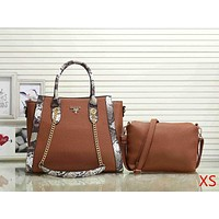 Prada Women Fashion Leather Handbag Crossbody Satchel Set Two Piece