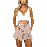 High Waisted Floral Casual Beach Pants Shorts