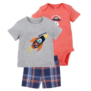 Summer Clothes For Baby Boys 3pcs Clothing Set Cotton T-shirt Bodysuit Pants Summer Newborn Baby Clothing For Girls
