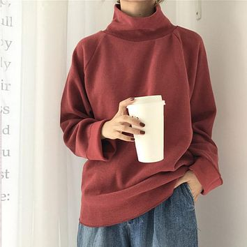 Turtleneck Sweater Autumn Winter Knitted Jumper Women'S Sweaters Casual Loose Long Sleeve Jacket Pullovers Female