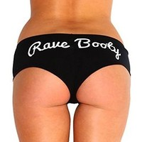 INTO THE AM Rave Booty Shorts (Medium, Black)