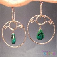 """Hammered circles with green turquoise, 2"""" Earring Gold Or Silver"""