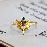 Antique Winged Torch Ring, Victorian 10k & Emerald Paste, Academic Excellence Achievement Victory Award Alternative Bohemian Engagement Ring