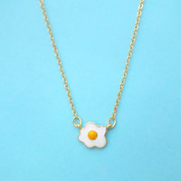 Egg, Necklace, Sunny, Side, Up, Egg, Gold, Necklace, Food, Gift, Necklace, Simple, Cute, Adorable, Gift, Jewelry, Birthday, Necklace