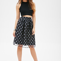 FOREVER 21 Sheer Polka Dot Skirt Black/Cream
