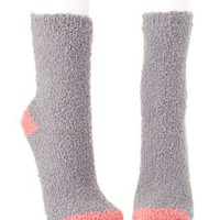 Two-Tone Fuzzy Socks by Charlotte Russe - Gray Combo