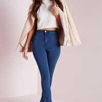 Missguided - Vice High Waisted Skinny Jeans Mid Blue