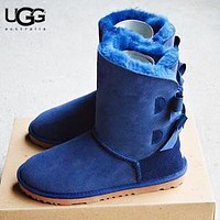 Bunchsun UGG New Fashion Solid Color Women Bow-Knot Fur Keep Warm Shoes Boots