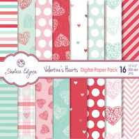 Valentine's Hearts Digital Paper Pack, 12x12 Instant Download for Cards, Invitations, Scrapbooking