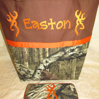 Handmade mossy oak infinity camo camouflage browning inspired deer buck diaper bag and travel wipe case you choose name