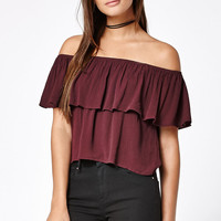 Kendall and Kylie Ruffled Off-The-Shoulder Top at PacSun.com