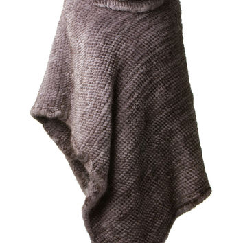 BONNY AND CLYDE GREY KNITTED MINK PONCHO