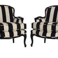 French Striped Bergères, Pair