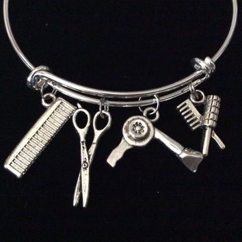 Hair Stylist Charm Bangle Scissors, Blow Dryer, Comb, Brush on a Silver Expandable Adjustable Bangle Bracelet Trendy Stacking Handmade Gift