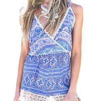 Deep V-Neck Backless Paisley Print Romper in Blue