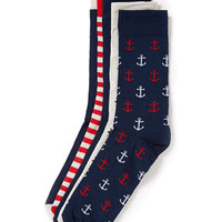 Anchor and Stripe 5 Pack Socks