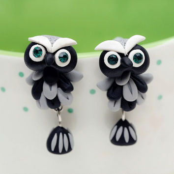 One pair 925 silver pin stud earrings handmade cute cartoon Personalized Owl polymer clay earrings for women brincos jewelry