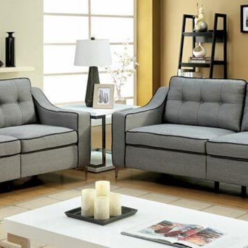 2 pc glenda collection contemporary gray fabric sofa and love seat with chrome legs