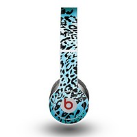 The Hot Teal Cheetah Animal Print Skin for the Beats by Dre Original Solo-Solo HD Headphones
