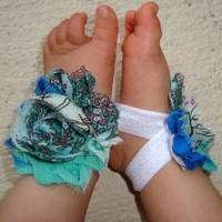 Baby Barefoot Sandals - Teal Peacock Piggy Petals - Toe Blooms - Photo Props - Baby Shoes - Toddler Shoes - Newborn Shoes