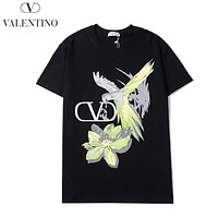 Onewel Valentino New fashion letter floral print couple top t-shirt Black