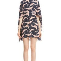 Valentino Bird Print Silk Cape Sheath Dress | Nordstrom