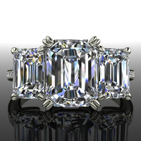 Forever Brilliant Moissanite and Diamond Engagement Ring Three Stone Emerald Cut 4.70 CTW