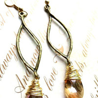 Simple drop Gold and brass jewelry. 24K gold vermeil earrings with wire wrapping.