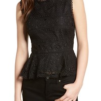 cupcakes and cashmere Abriella Lace Peplum Top   Nordstrom