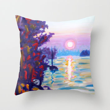 Gold Island Sunset  Throw Pillow by Morgan Ralston