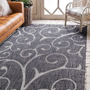 7169 Charcoal Gray Outdoor-Indoor Abstract Area Rugs