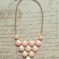 Peach Kate Spade Inspired Necklace, Peach Statement Necklace, Bib Necklace, Bubble Bib, Bridesmaids Gift