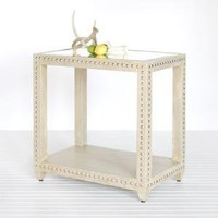 worlds away olivia side table limed oak lacquer fi