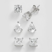 Silver Plate Cubic Zirconia Stud Earring Set (White)