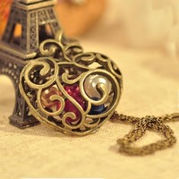 SALE! Victorian Hollowed Out Bronze Heart Charm With Bright Colorful Beads Inside Pendant Necklace
