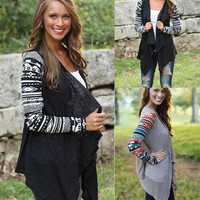New Women Knit Cardigan Autumn Sweaters Spell Color Coat Casual Long Sleeve Tops Black Grey S-XL = 1958449348