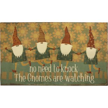 """No Need To Knock The Gnomes Are Watching Indoor/Outdoor Rug   Slip-Resistant Backing   34"""" x 20"""""""