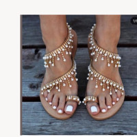 Iadies leather sandals and casual pearl shoes